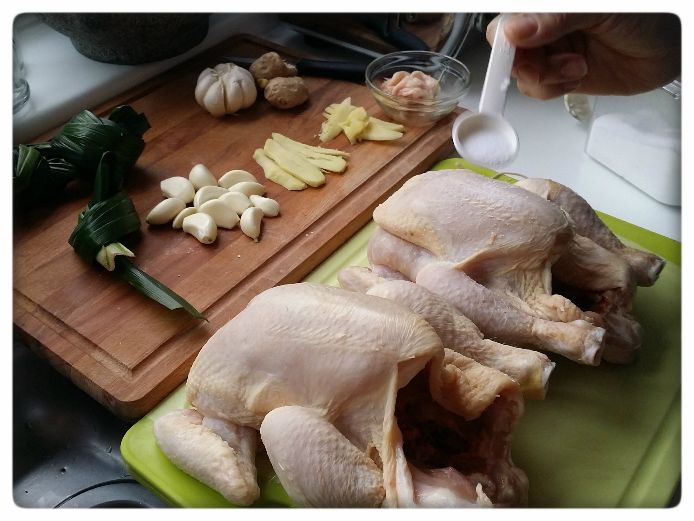 Preparing poaching chickens