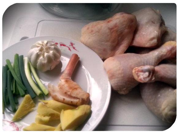 Recipe Hainan Chicken Rice; Prepare poaching chicken stock