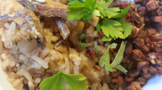 Rice with dried anchovies, quick stir-fry for lunch