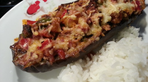 Aubergine stuffed with minced lamb and spices