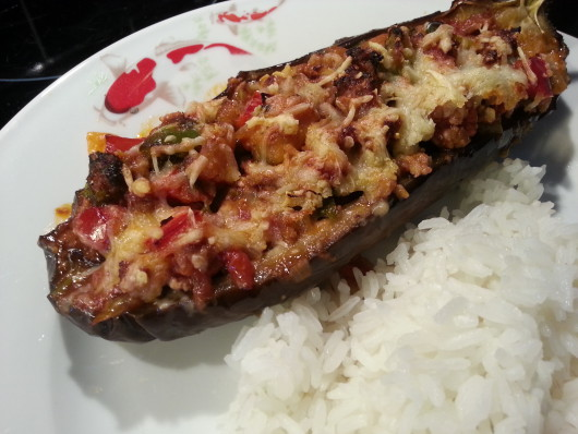 Greek/Turkish Stuffed Aubergine with minced Lamb and spices