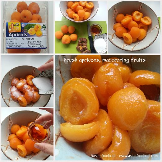 Fresh apricots, macerating fruits