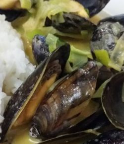 Thai red curry mussels, stir-fried & steamed