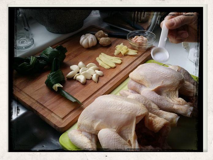 Preparing chickens; stuffing set