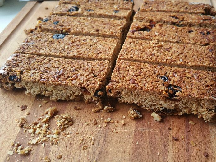 Granola bars cut when cooled down completely